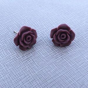 Titanium Post Rose Earrings matte ♡Style1 Burgundy